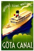 Göta Canal  Vintage Travel Poster of Sweden. Swedens Scenic Waterway